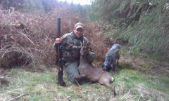 john with His first Roe buck, A 6 pointer